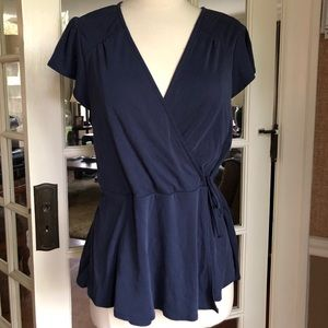 Front wrap blouse in softest blue